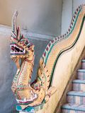 Old dragon statue in the traditional Thai style. Royalty Free Stock Images