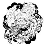 Old Dragon tattoo japanese style. Hand drawn Dragon tattoo coloring book Japanese style.Japanese old dragon for tattoo.Traditional Asian tattoo the old dragon Stock Photography