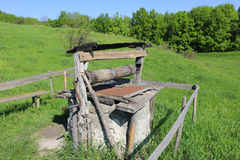 Old draw well in forest Stock Images