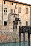 Old drawbridge on a castle wall Royalty Free Stock Image