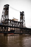 Old drawbridge over river Willamette in Portland Down Town Stock Photography