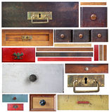 Old drawers, wooden strips and escutcheons Royalty Free Stock Photo