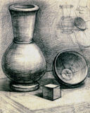 Old drawing. Graphic pencil drawing by hand. The Composition/statement from three subjects: a vase, a cube, a cup Stock Images