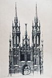 Old drawing of catholic church Royalty Free Stock Images