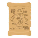 Old Drawing of robot on scroll. Design of technological devices Royalty Free Stock Photo