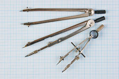 Old drawing tools Stock Images