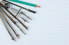Old drawing tools stock photo