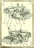 Old drawing of the Typewriter. Royalty Free Stock Image