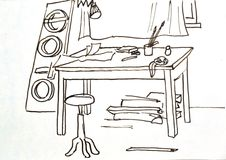 Old drawing.workshop.studio Stock Photography
