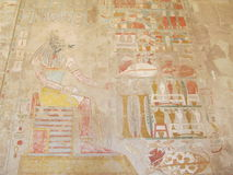 Old drawings. Egypt's ancient drawings in the Temple of Queen Hatshepsut royalty free stock image