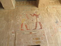 Old drawings. Egypt's ancient drawings in the Temple of Queen Hatshepsut royalty free stock photo