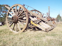 Old dray. Old horse drawn wagon used for carting Royalty Free Stock Images