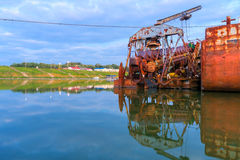 Old Dredge on Tisza Stock Images