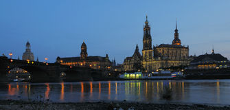 Old Dresden, an evening view. To the Hofkirche across river Elbe Royalty Free Stock Photo