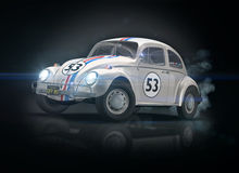 Old Drift Car. 3D render of Old Drift Car on black background Royalty Free Stock Photo