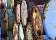 Old drums. Image of old tin drums stacked on top of each other Stock Photography