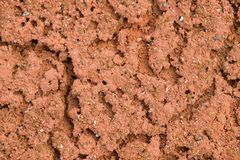 Old dry red crushed bricks surface on outdoor tennis ground. Detail of texture Royalty Free Stock Photo