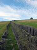 Old dry stone stone wall in the yorkshire moors Royalty Free Stock Image