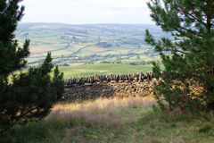 Old dry stone wall in welsh countryside, mountains in background Royalty Free Stock Photos