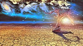 Old dry tree in arid land. Surreal painting. Old dry tree in arid land. Sunset or sunrise stock illustration