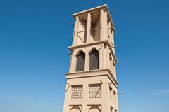 Old Dubai with classical wind tower royalty free stock photos