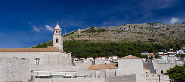 Old Dubrovnik City Walls. Thick stone walls of old dubrovnik Royalty Free Stock Image
