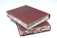 Old Ducty books. Old Dusty hard cover books Stock Photos