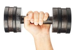 Old dumbbell with removable weights in hand Stock Photography