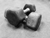 Old dumbbells, bw photo. Old dumbbells for strength training on the floor, bw photo Stock Image