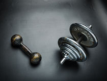 Old dumbbells weights Stock Photos