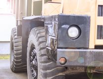 Old dumper. Used for transportation of ores. Industrial transport. All logos removed. Close-up Royalty Free Stock Photo