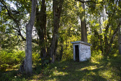 Old Dunny Australian Forest. Old toilet, known in Australia as a Dunny or Thunderbox. This is an original toilet in the Primary School at Green Pigeon, Northern Stock Photo