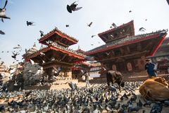 Old Durbar Square with pagodas, Nov 28, 2013 in Kathmandu, Nepal. Royalty Free Stock Photos