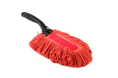 Old dust brush or red fabric mop, isolated Royalty Free Stock Photo