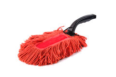 Old dust brush or red fabric mop, isolated Stock Images