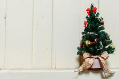 Old and dust christmas tree with decoration Royalty Free Stock Photo