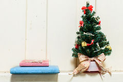 Old and dust christmas tree with decoration Royalty Free Stock Photos