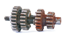 Old Dusted Rusted Block Gear Isolated Stock Photo