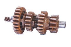 Old dusted and rusted block gear isolated on white Royalty Free Stock Image