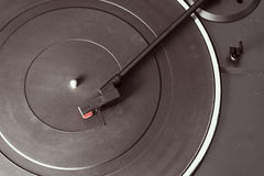 Old and dusty black phono turntable Stock Images