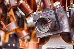 Old dusty camera. Technology of the last century. Premium photography equipment. Royalty Free Stock Image