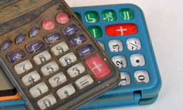 Old dusty and dirty calculator Stock Photos