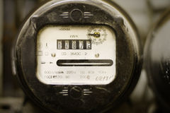 Old dusty electricity supply meter. Old electricity supply meter made in USSR Stock Images