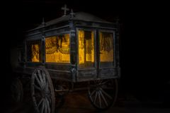 Old and dusty hearse carriage royalty free stock image