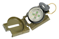 Old dusty military  compass. Old dusty military  green mass production compass. Isolated with pach, selective focus Stock Photos