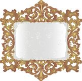 Old dusty mirror. In vintage frame Stock Photography