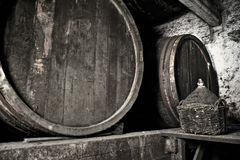 Old dusty and moldy wine cellar Stock Images