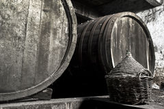 Old dusty and moldy wine cellar Stock Image