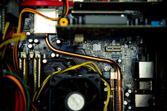 Old dusty pc motherboard detail vintage color effect Royalty Free Stock Images