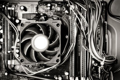 Old dusty pc motherboard vintage black and white Stock Photo
